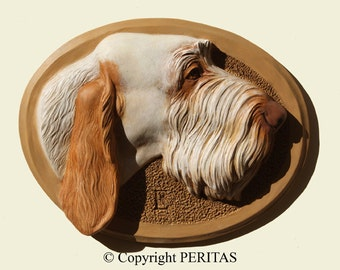 Hand painted  white and orange Spinone Italiano Italian Spinone dog wall sculpture statue fine art relief