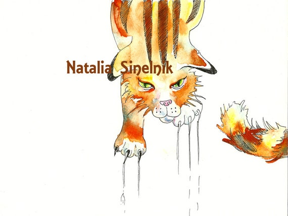 Funny scratched tabby red cat digital download from original watercolor art nursery art, orange clipart