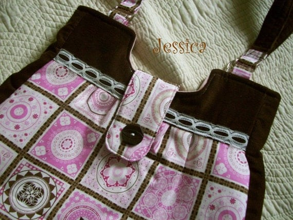 Pink & Brown Large Tote, Purse with Inside Pockets