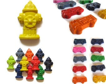 Fire Truck and Fire Hydrant Crayons set of 40 - party favors