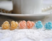 Rose Flower Stud Earring Set // Tropical Sunrise - Light Peach, Pink, and Blue