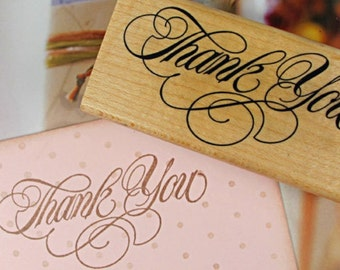 THANK YOU Wooden Rubber Stamp 8cm x 4cm in Cursive Calligraphy Style - Merci. Scrapbooking. Cardmaking. Tag Making. Stamping