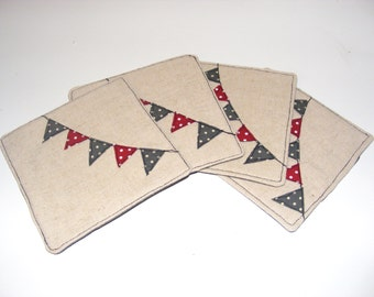 Linen Coasters with Spotty Bunting Design - pack of 4