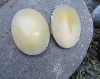 Vintage Ture Designs Silver Onyx Modernist Oval Earrings