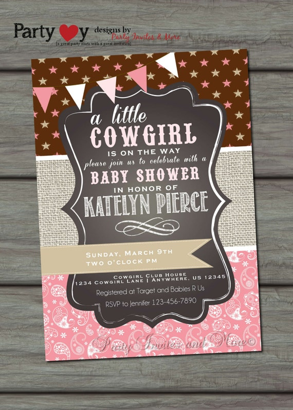 baby shower invitation cowgirl baby shower western baby shower