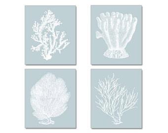 Blue Gray Blue Wall Art, Coral Print, Silvery Blue Coral,  Blue Grey Home Decor, Silvery Blue Wall Art, Botanicals, Coral Prints, 8x10