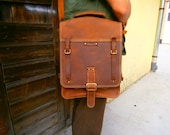 15 inch Laptop Vertical Briefcase Man Bag, Lucky Double compartimented Vintage leather Handmade bag,