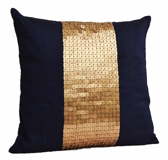 Throw Pillows Navy Blue gold color block in silk sequin bead