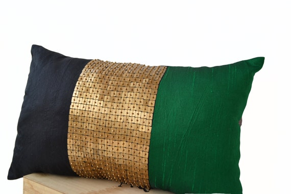 Throw Pillow Black-Emerald Green-Gold color block