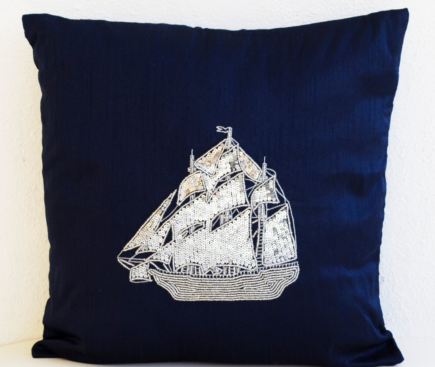 Navy blue decorative throw pillow covers Nautical pillow with