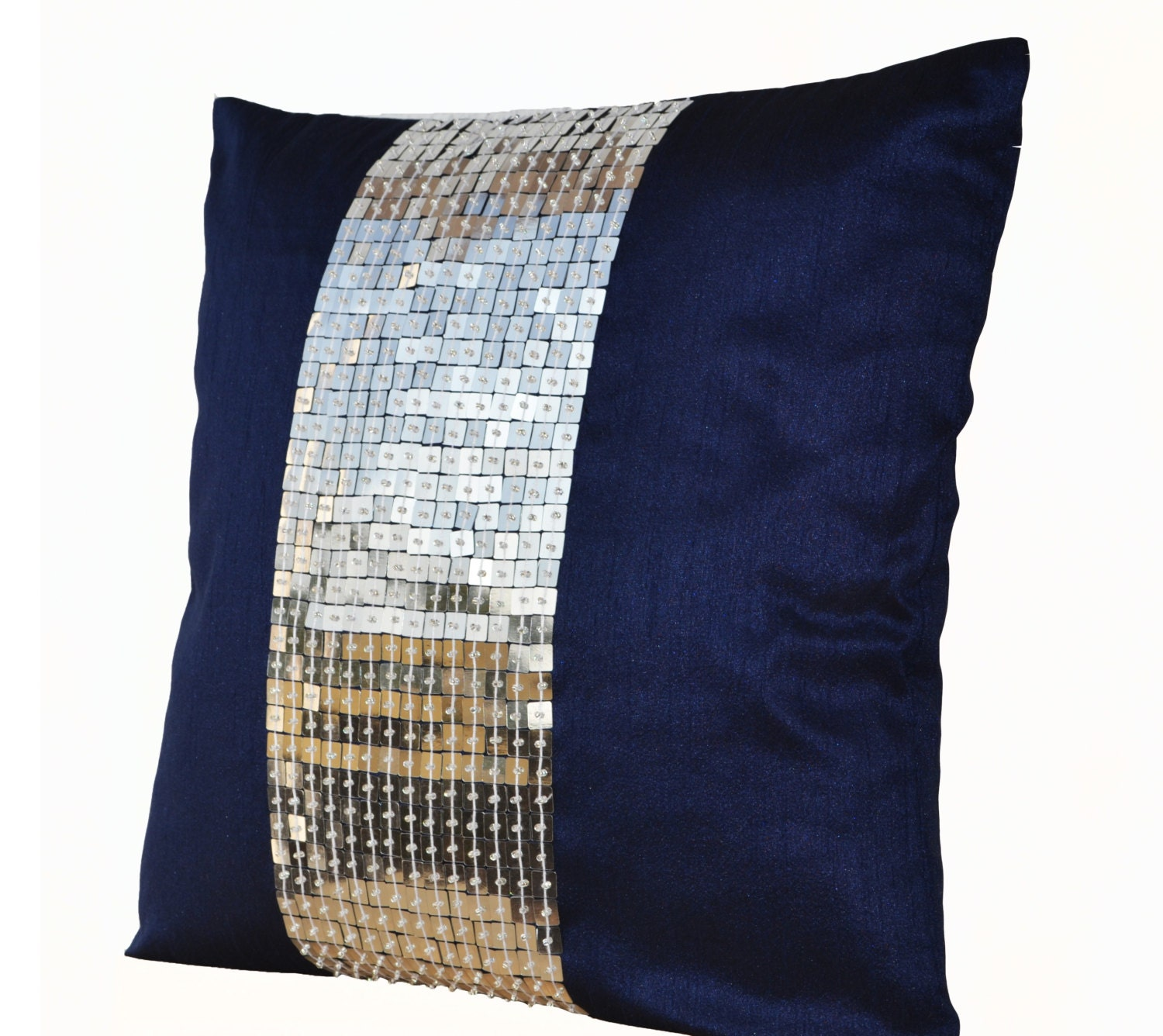 Blue Beaded Throw Pillow : Metallic Throw Pillows Navy Blue Silver color block sequin