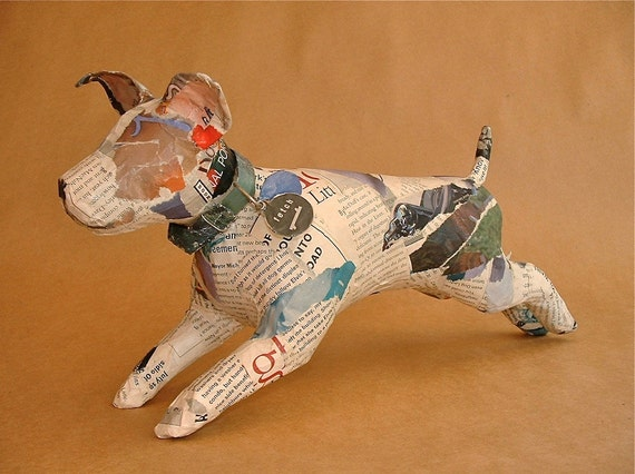 Unique Whimsical Paper Mache Dog Sculpture With By Paperport