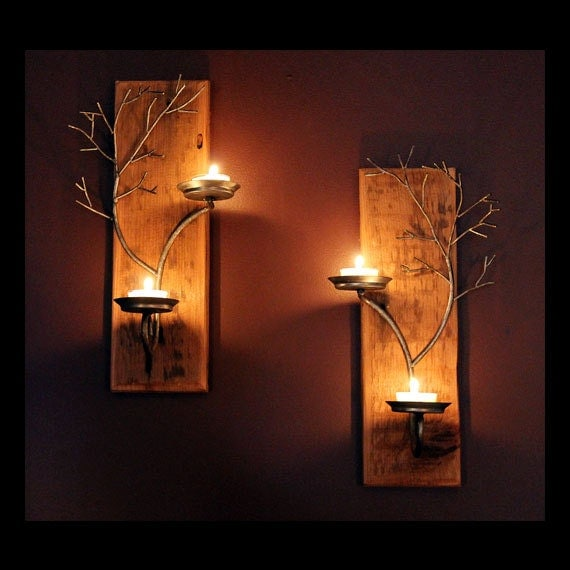 Set of two candle metal  tree sculpture  wall sconces on antique wood base for  votive and tea candles