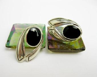 1960s Native American, Earrings, Black Onyx & Sterling Silver Earrings, Southwestern USA.