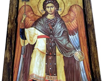 ARCHANGEL GABRIEL - Orthodox Byzantine icon on wood handmade (22.5 cm x 17 cm)