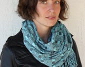 Tonal Blue and Grey Hand-Dyed Fashion Scarf - Minimalist Geometric Design with Clean Lines - Unisex - FREE SHIPPING