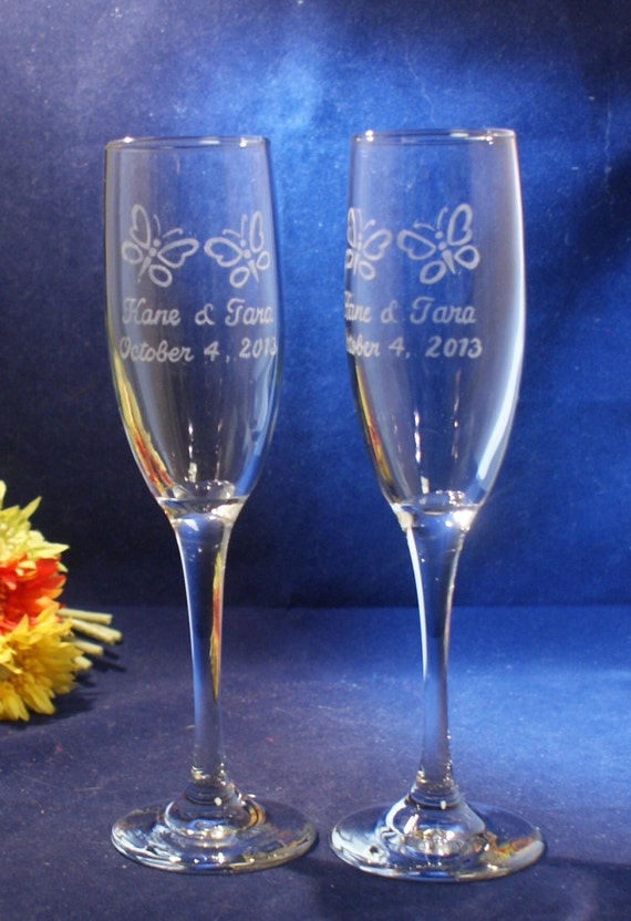 personalized wedding champagne flutes with engraved butterflies