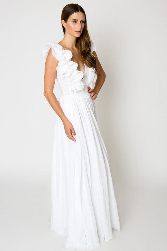 white ruffle BOHEMIAN WEDDING gauze maxi DRESS / beach wedding