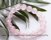 Natural Pink Jade Bracelet,beaded jade Bracelet ,Gemstone Bracelet, Bridal Bracelet, Bridesmaids Bracelet (adjustable string)