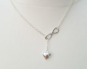 Infinity lariat, Infinity Lariat Necklace, Infinity Necklace, heart Lariat, UK Shop, Love Necklace, Layering Necklace, Christmas Gifts