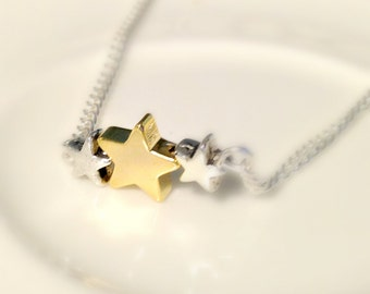 Star Necklace, three star necklace, star trio necklace, silver gold star necklace, silver necklace, simple jewelry, British seller UK