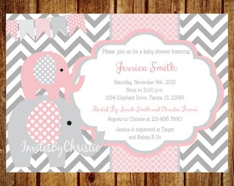 Pink and Gray Elephant Baby Shower Invitation- Digital File- DIY Printable - Elephant Baby Shower Invitation, Chevron Invitation