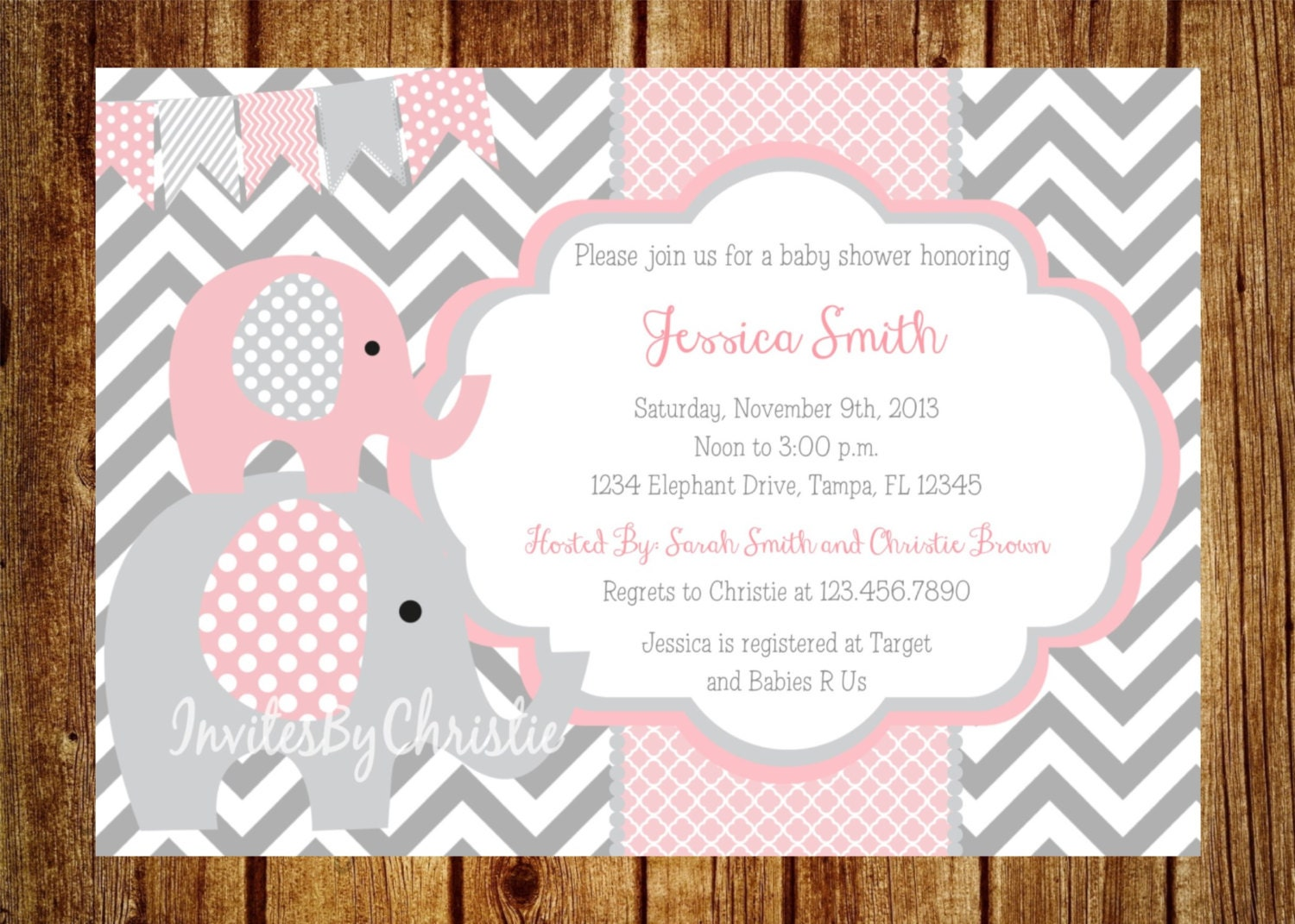 pink and gray elephant baby shower invitation digital file