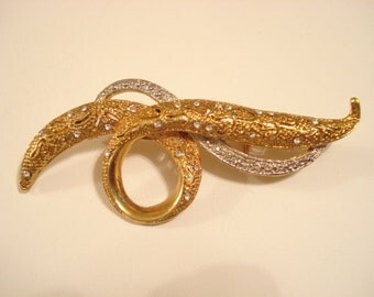 Vintage AVON Brooch Gold And Silver Tone With Clear Rhinestones