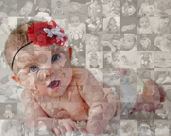 16x16 Inch Photo Mosaic Collage - Custom Personalized - Unique One-of-a-Kind Wall Art