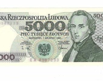 1982-1988 Poland. Paper Currency, 5000 zlotych Fryderyk Chopin