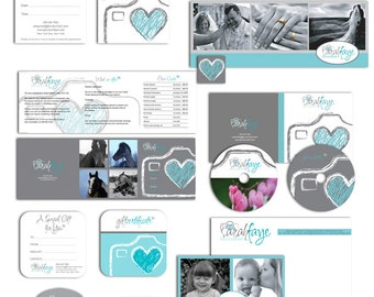 Photography Marketing set and photography contract business forms sketched heart camera grey, teal and white - all editable psd files