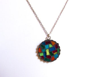 free shipping, Abstract Mosaic necklace/ gift for her/ round stained glass jewelry/colorful pendant