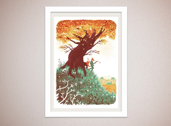 Fantastic Mr Fox - Warm edition - 4 colour screenprint inspired by the classic Roald Dahl story