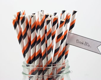 20% OFF Halloween Black and Orange Striped Paper Straws with Free Printable DIY Flags (25 count)