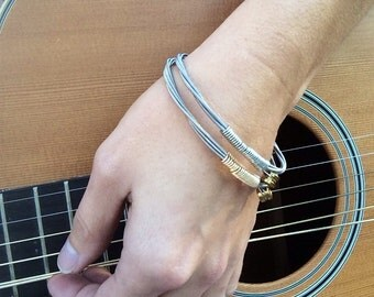 Women's Bass String Bracelet - Silver or Gold Guitar String Bangle Bracelet with Bass Ball Ends, Handmade Unique Guitar String Jewelry