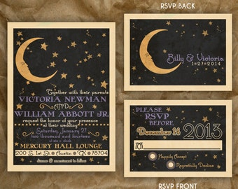 Paper Moon Celestial Wedding or Party Invitation // Vintage 1920s Inspired