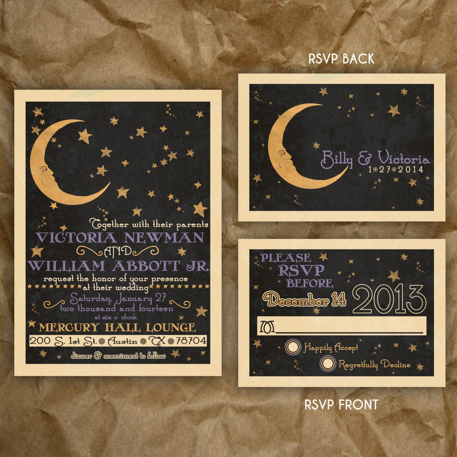 paper moon celestial wedding or party invitation
