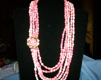 Vintage Inspired Pink Bamboo Coral & Gold Wreath Necklace