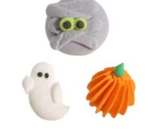 Halloween Mummy, Ghost and Pumpkin Edible Dec Ons-Set of 8 icing decorations.