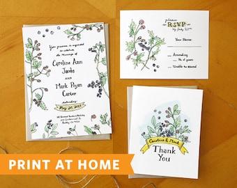Berry Perfection: Wedding Invitation Suite Printable / Print at Home Wedding Invitations