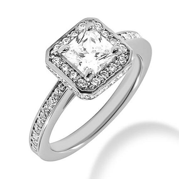 Princess Cut Diamond Engagement Ring Halo Setting 14k White