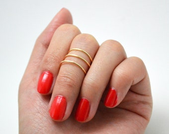 Gold Stacked Above the Knuckle Midi Ring Set (3)