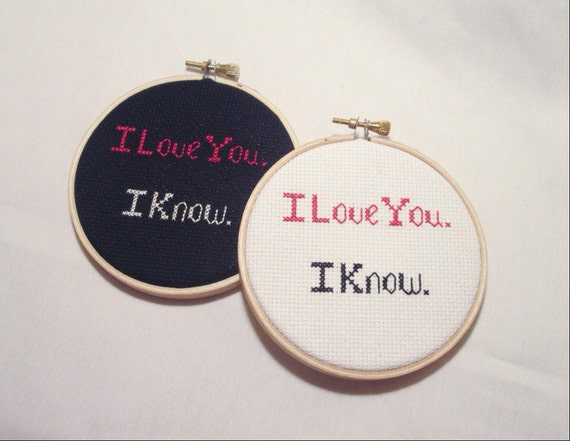 Star Wars I Love You. I Know. Empire Strikes Back Movie Quote Hoop Art, Anniversary Gift, Geeky Wedding Decor
