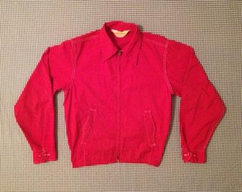 1970's, dark red, water repellent, heavy cotton, Mens jacket
