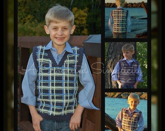 "Crochet Pattern: ""Perfectly Plaid or Plain"" Boys Sweater Vest, Sizes 0/3 months thru 3/4 years Permission to Sell Finished Items"