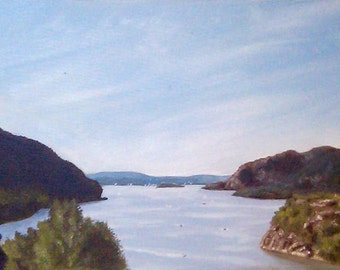 Original Painting - View of the Hudson River from Trophy Point at West Point by David Lawter