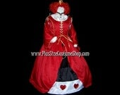 QUEEN of HEARTS Court Gown Plus Size Halloween Costume Adult Womens 1X 2X 3X 4X 5X - 3 pcs New - Alice in Wonderland