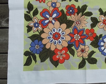 Vintage cotton and viscose printed tablecloth, multicolored floral pattern, Swedish vintage from 1960'