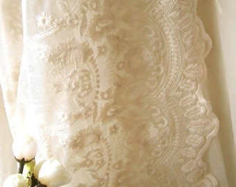 SALE Ivory Bridal Lace Fabric, Retro Embroidered Lace, Chic Wedding Dress Lace, Veil Lace Fabric, fabric by yard