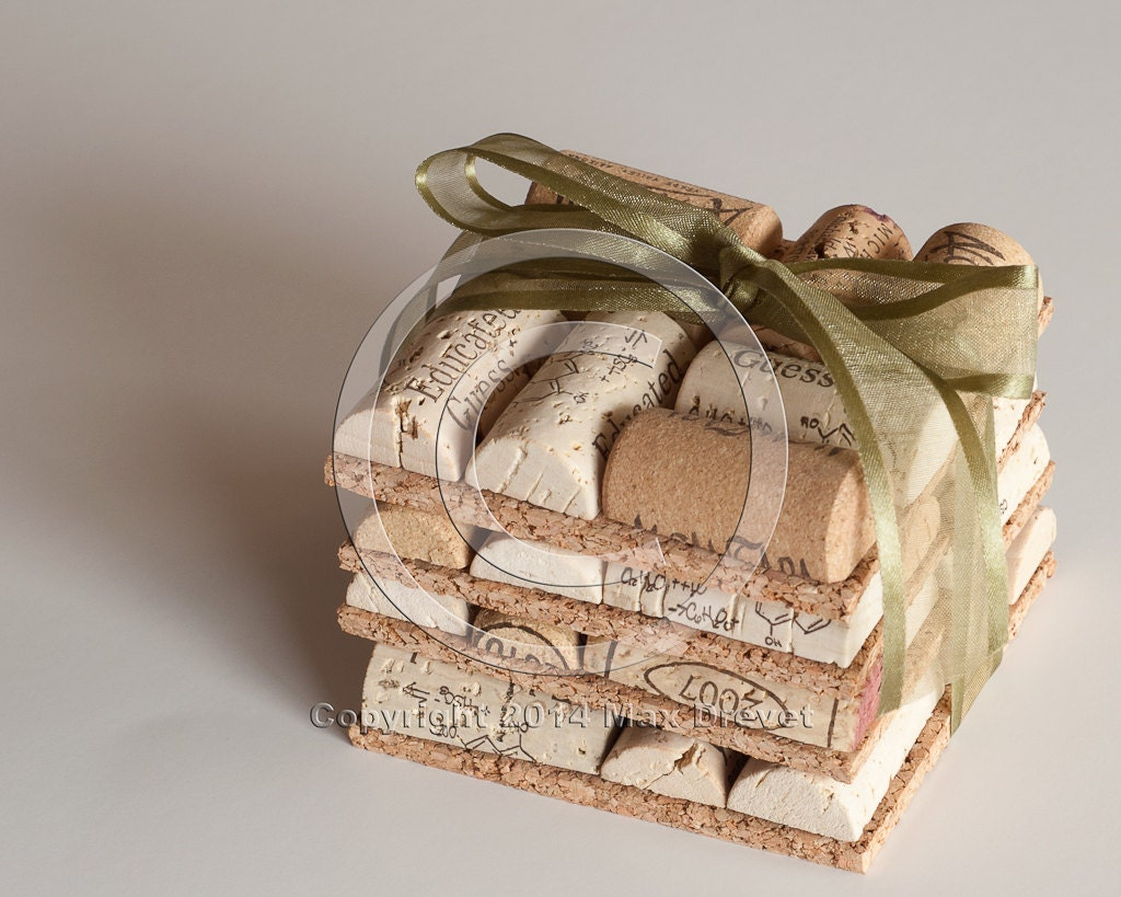 Craft Wedding Gifts: Wedding Favors Wine Cork Coasters Set Of 4 Wine Cork Crafts
